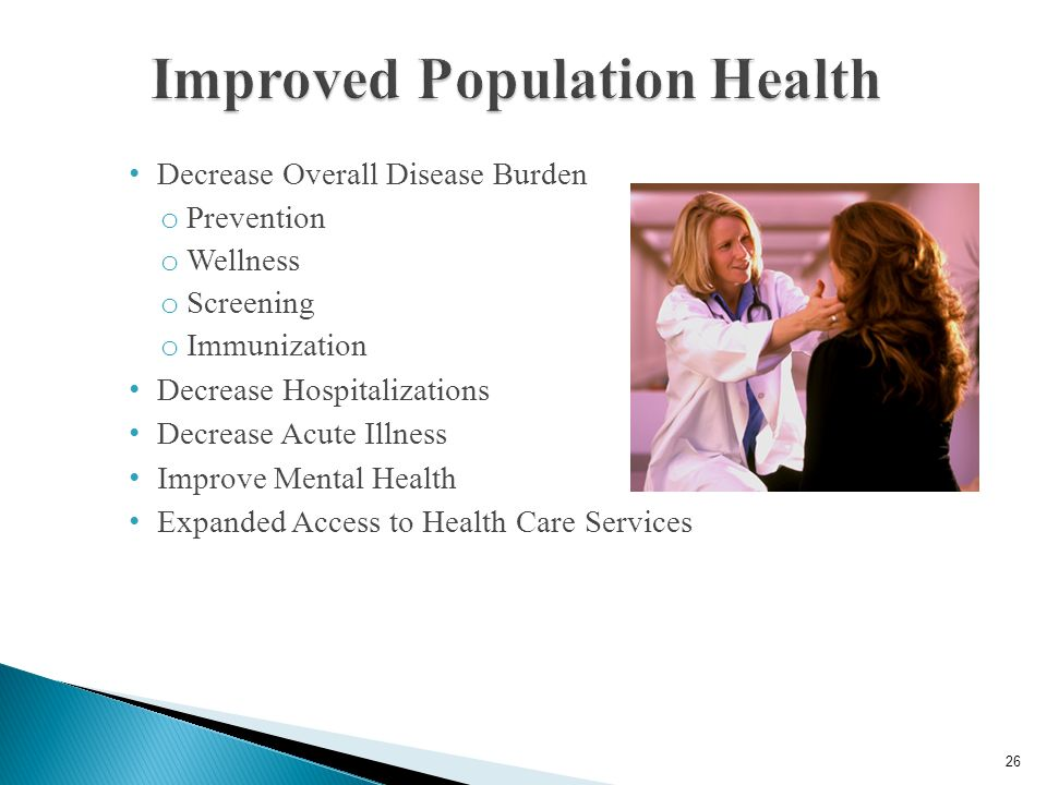 Improved Patient Experience Lower per capita Healthcare Cost Improved Population Health 1 Source: Berwick, D.M., Nolan, T.W., and Whittington, J. (200