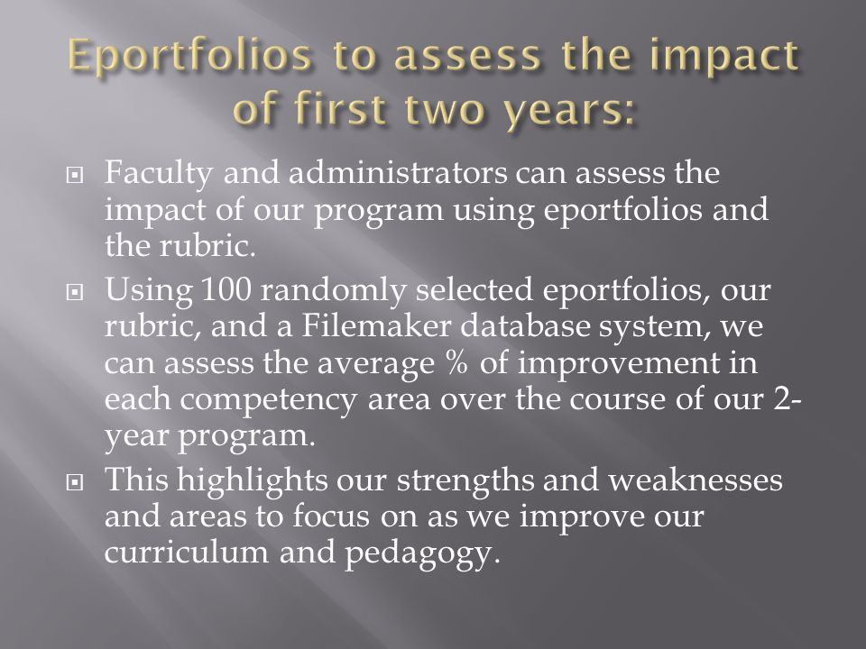 Faculty and administrators can assess the impact of our program using eportfolios and the rubric. Using 100 randomly selected eportfolios, our rubric,