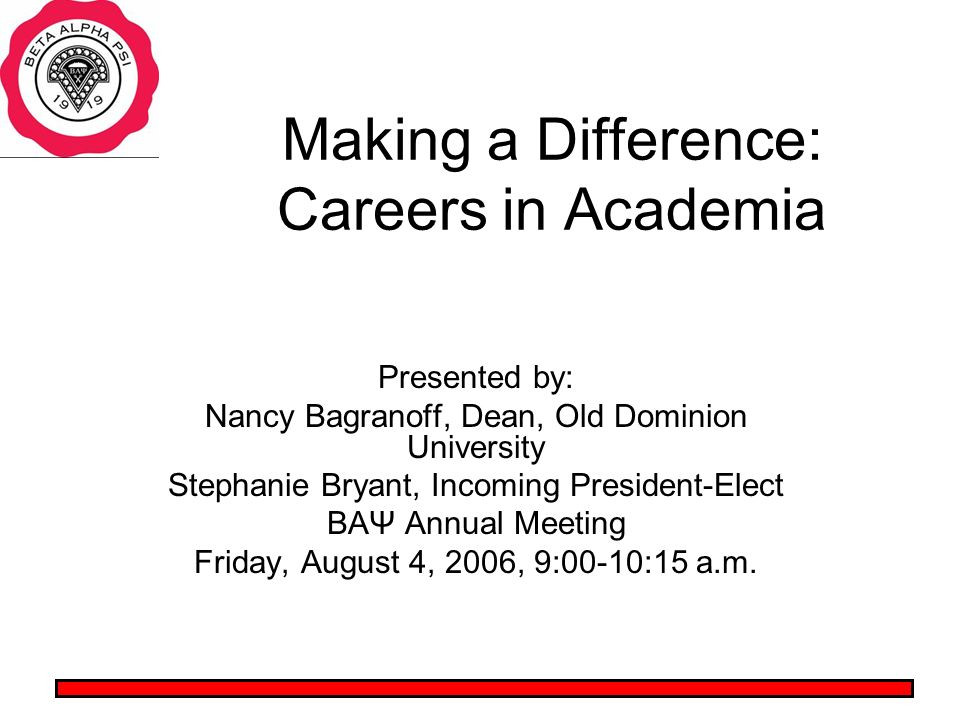 Making a Difference: Careers in Academia Presented by: Nancy Bagranoff, Dean, Old Dominion University Stephanie Bryant, Incoming President-Elect BAΨ Annual Meeting Friday, August 4, 2006, 9:00-10:15 a.m.