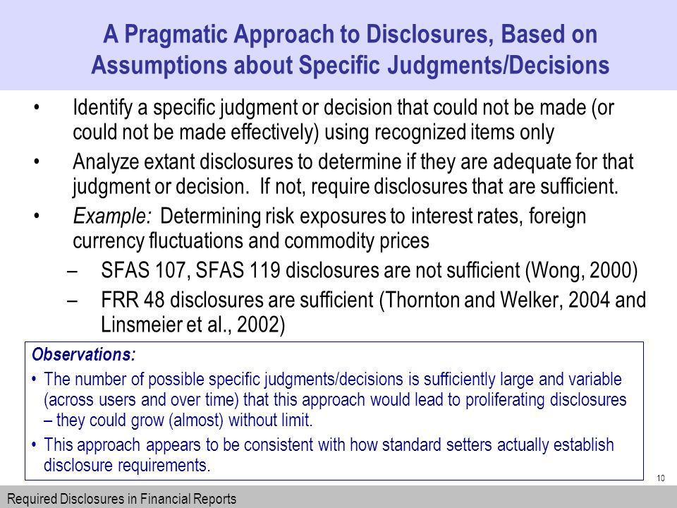 10 Identify a specific judgment or decision that could not be made (or could not be made effectively) using recognized items only Analyze extant disclosures to determine if they are adequate for that judgment or decision.