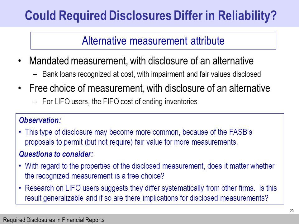 20 Could Required Disclosures Differ in Reliability.