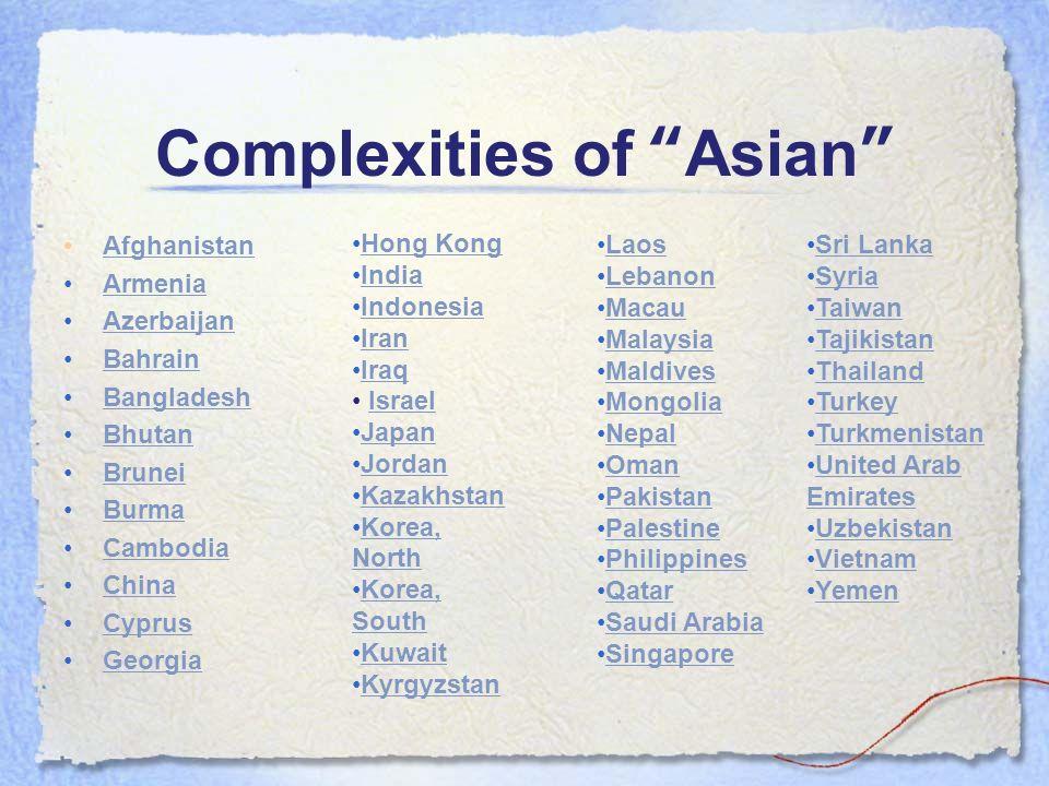 Complexities of Asian Afghanistan Armenia Azerbaijan Bahrain Bangladesh Bhutan Brunei Burma Cambodia China Cyprus Georgia Sri Lanka Syria Taiwan Tajik