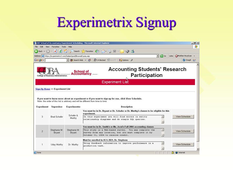 Experimetrix Signup