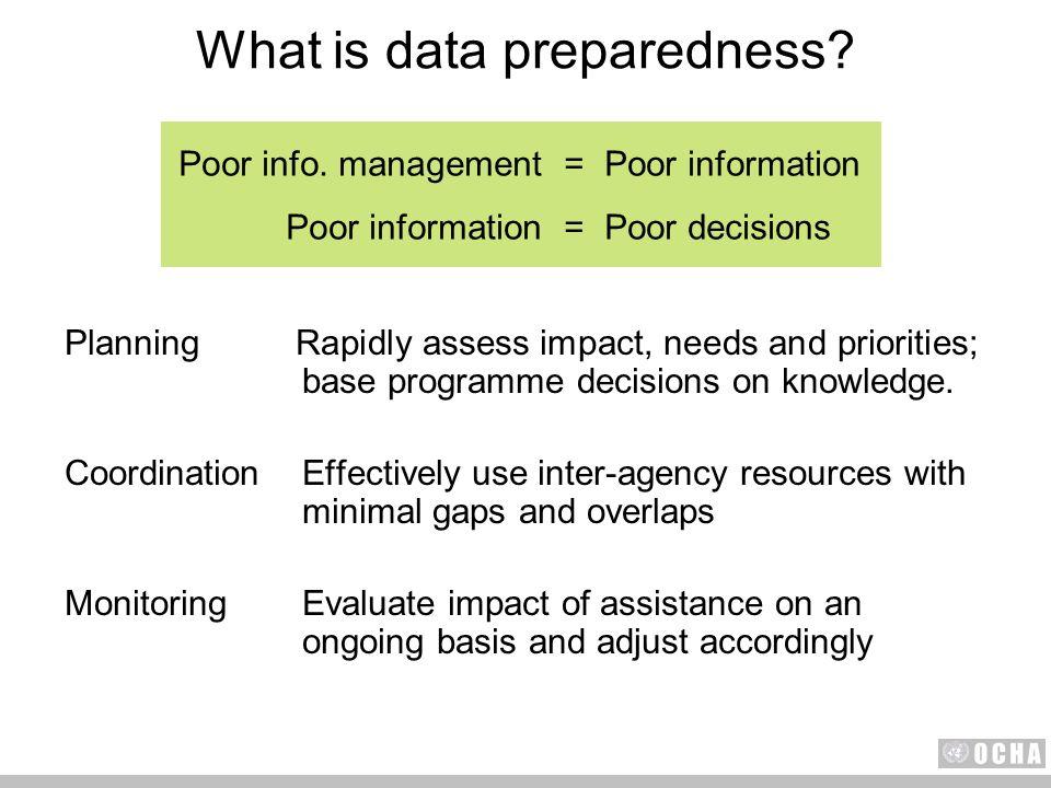 Poor info. management=Poor information Poor information=Poor decisions What is data preparedness.