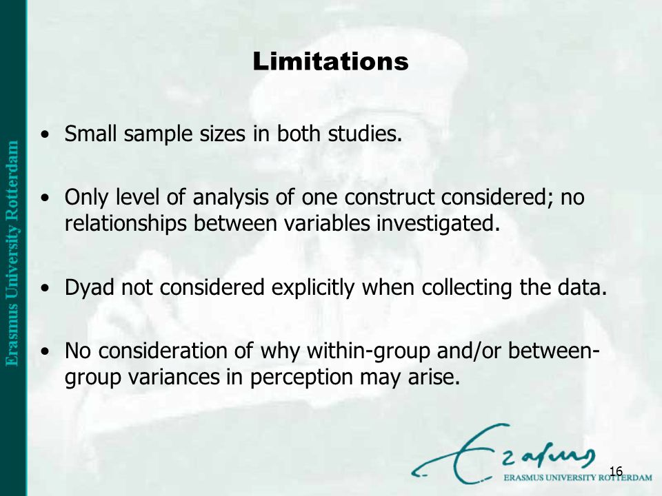 Limitations Small sample sizes in both studies.
