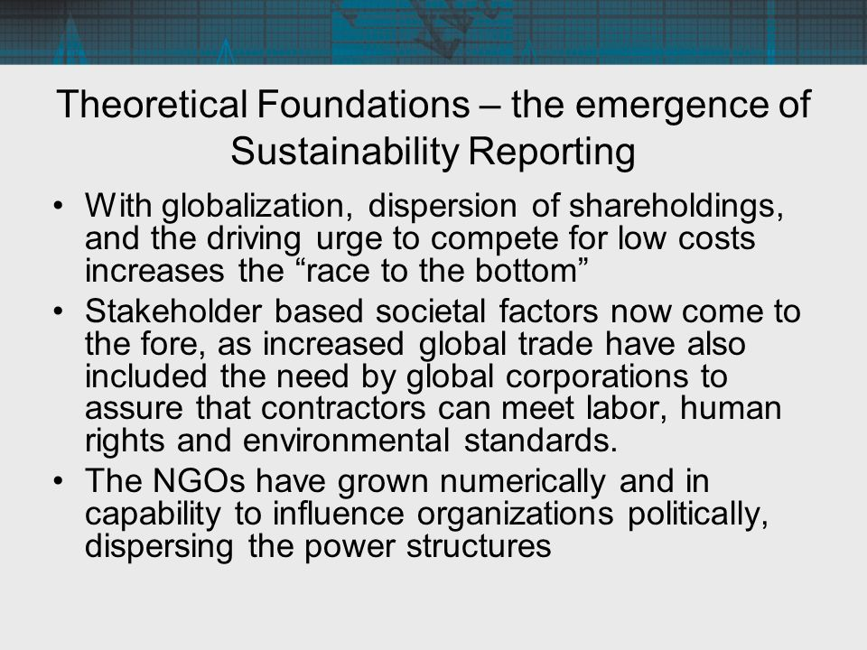Theoretical Foundations Thus, sustainability has grown to contain a race to the bottom that can adversely impact the stakeholders, including communities, which has entered organizational thinking –the recognition of the risks to global brands from problems in the supply chain, –the increasing sophistication of activists pressuring corporations about environmental, human rights or labor concerns, and –the growing demands for transparency in social performance indicators.