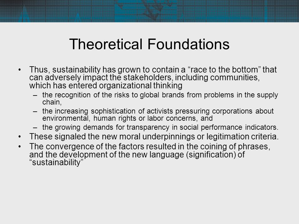 Accounting and Sustainability Accounting Semantics and Concepts: –The influence in accounting semantics and concepts: Some terms acquire new meanings as the interaction between the social and the organizational is visible in the trade-offs between stakeholders; hence, costs (environmental, employee), profits and usefulness can take on new meaning when viewed from different perspectives Unique terms are now coined or adapted to depict the new realities; hence, the three perspectives of economic, social and environment are seen as triple bottom lines (Elkington 1997).