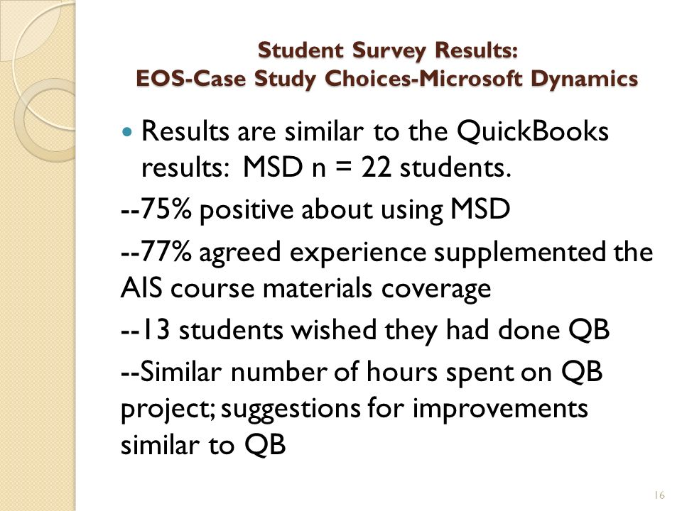 Student Survey Results: EOS-Case Study Choices-Microsoft Dynamics Results are similar to the QuickBooks results: MSD n = 22 students. --75% positive a