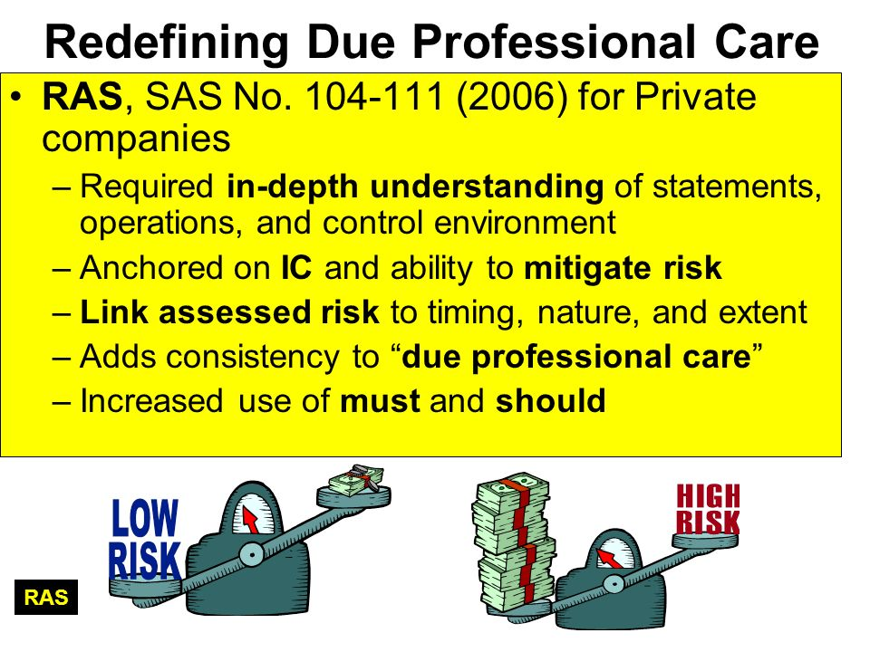 Redefining Due Professional Care RAS, SAS No. 104-111 (2006) for Private companies –Required in-depth understanding of statements, operations, and con