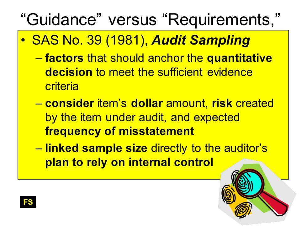 Guidance versus Requirements, SAS No. 39 (1981), Audit Sampling –factors that should anchor the quantitative decision to meet the sufficient evidence