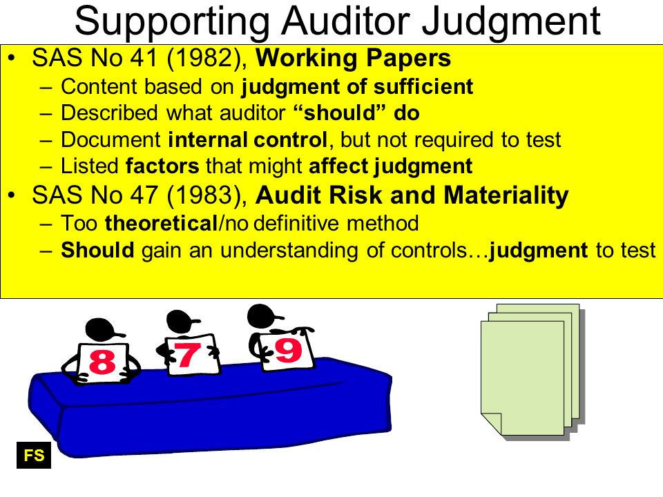 Supporting Auditor Judgment SAS No 41 (1982), Working Papers –Content based on judgment of sufficient –Described what auditor should do –Document internal control, but not required to test –Listed factors that might affect judgment SAS No 47 (1983), Audit Risk and Materiality –Too theoretical/no definitive method –Should gain an understanding of controls…judgment to test FS