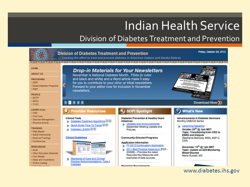 Indian Health Service Division of Diabetes Treatment and Prevention www.diabetes.ihs.gov