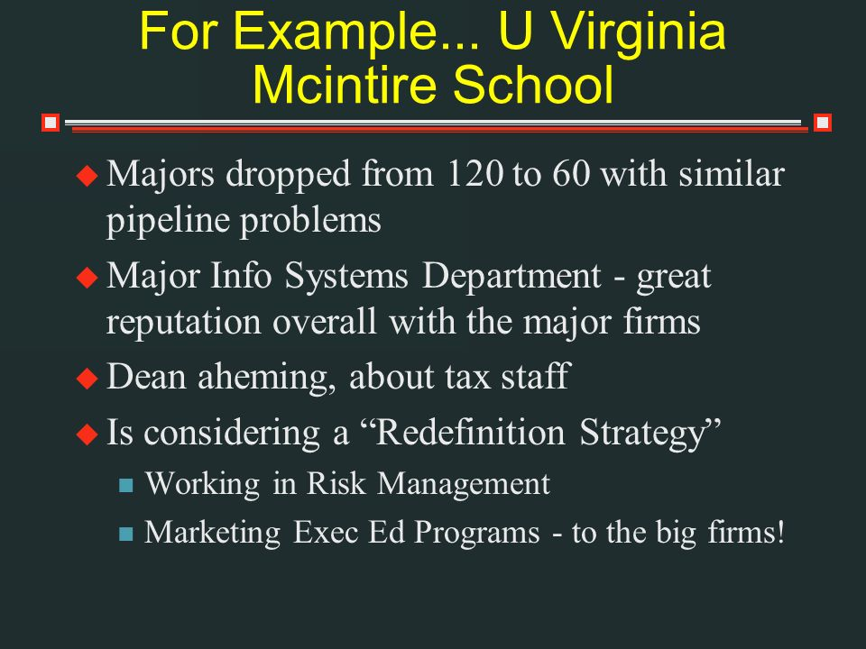 For Example... U Virginia Mcintire School Majors dropped from 120 to 60 with similar pipeline problems Major Info Systems Department - great reputatio