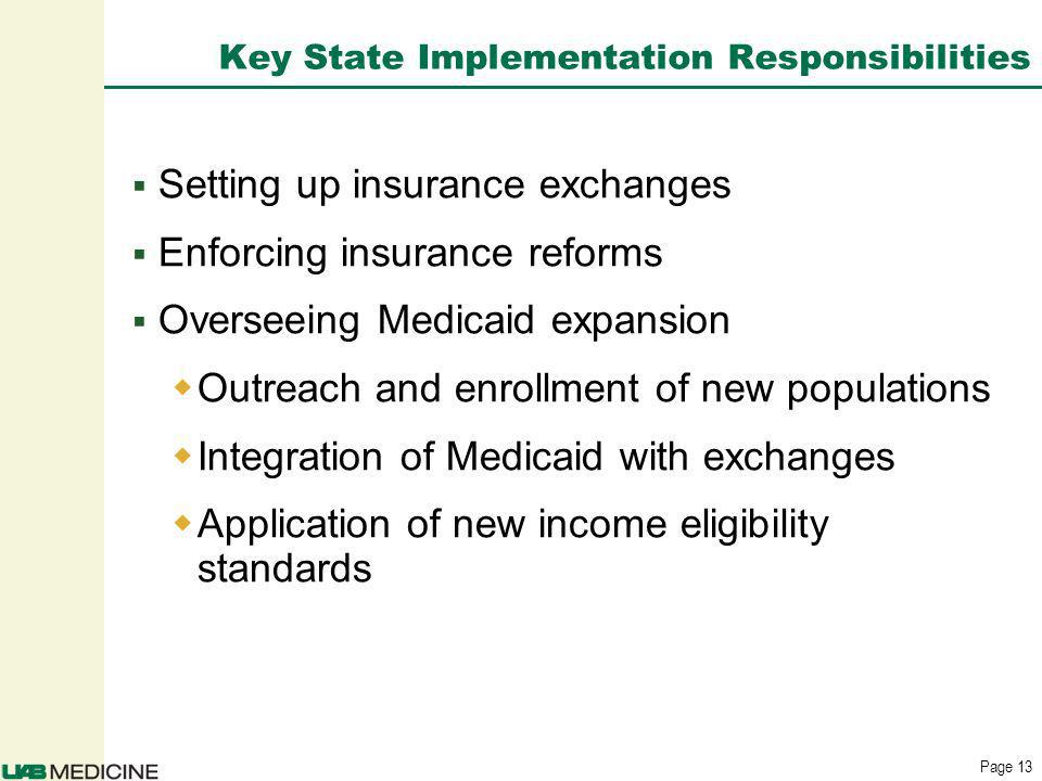 Page 13 Key State Implementation Responsibilities Setting up insurance exchanges Enforcing insurance reforms Overseeing Medicaid expansion Outreach and enrollment of new populations Integration of Medicaid with exchanges Application of new income eligibility standards