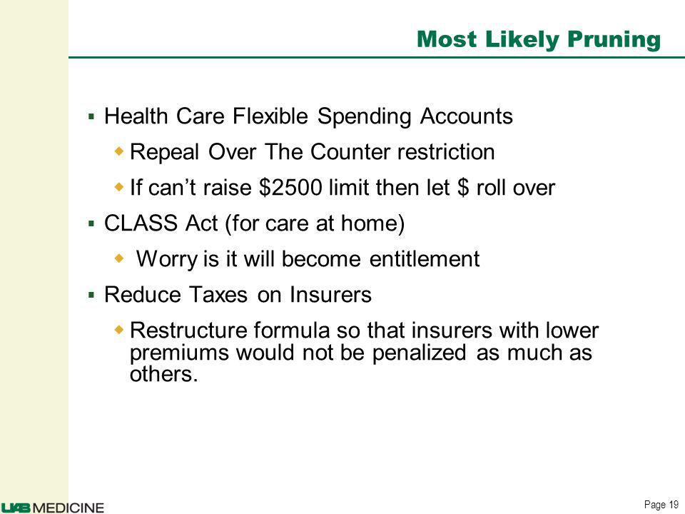 Page 19 Health Care Flexible Spending Accounts Repeal Over The Counter restriction If cant raise $2500 limit then let $ roll over CLASS Act (for care at home) Worry is it will become entitlement Reduce Taxes on Insurers Restructure formula so that insurers with lower premiums would not be penalized as much as others.