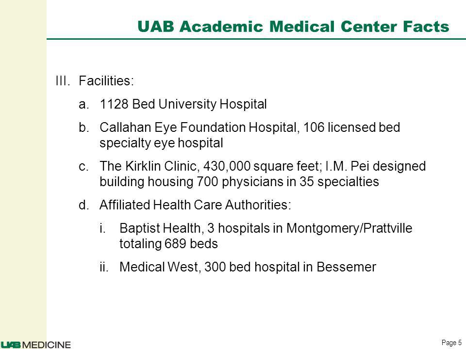 Page 5 UAB Academic Medical Center Facts III.Facilities: a.1128 Bed University Hospital b.Callahan Eye Foundation Hospital, 106 licensed bed specialty eye hospital c.The Kirklin Clinic, 430,000 square feet; I.M.