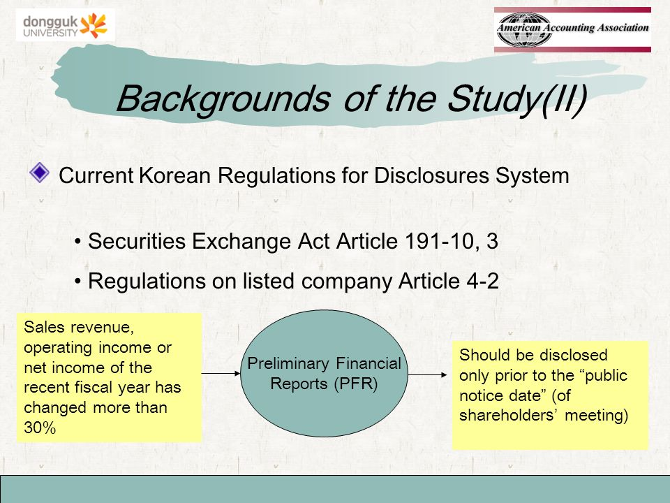 Current Korean Regulations for Disclosures System Backgrounds of the Study(II) Securities Exchange Act Article , 3 Regulations on listed company Article 4-2 Preliminary Financial Reports (PFR) Sales revenue, operating income or net income of the recent fiscal year has changed more than 30% Should be disclosed only prior to the public notice date (of shareholders meeting)