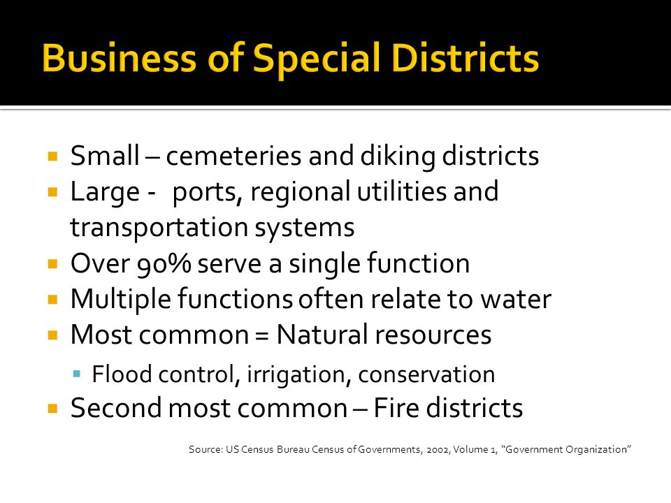 Small – cemeteries and diking districts Large -ports, regional utilities and transportation systems Over 90% serve a single function Multiple functions often relate to water Most common = Natural resources Flood control, irrigation, conservation Second most common – Fire districts Source: US Census Bureau Census of Governments, 2002, Volume 1, Government Organization