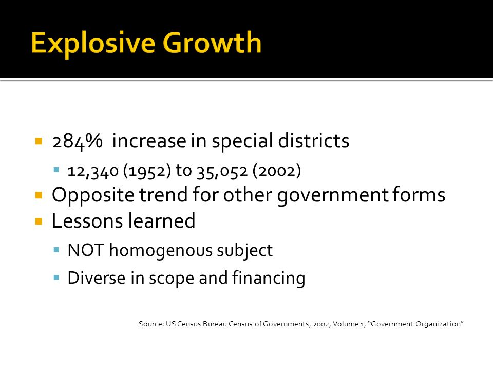 284% increase in special districts 12,340 (1952) to 35,052 (2002) Opposite trend for other government forms Lessons learned NOT homogenous subject Diverse in scope and financing Source: US Census Bureau Census of Governments, 2002, Volume 1, Government Organization