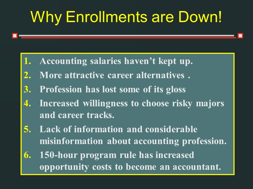 Why Enrollments are Down. 1.Accounting salaries havent kept up.