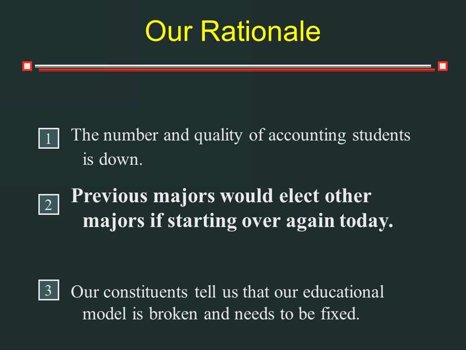 Our Rationale The number and quality of accounting students is down.