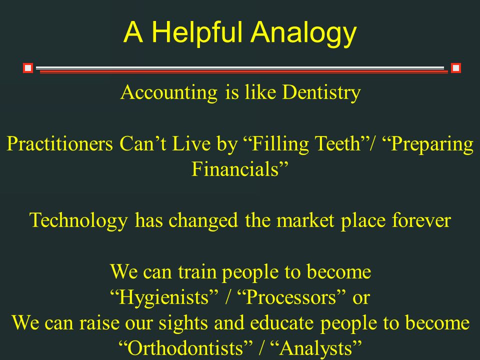 A Helpful Analogy Accounting is like Dentistry Practitioners Cant Live by Filling Teeth/ Preparing Financials Technology has changed the market place forever We can train people to become Hygienists / Processors or We can raise our sights and educate people to become Orthodontists / Analysts