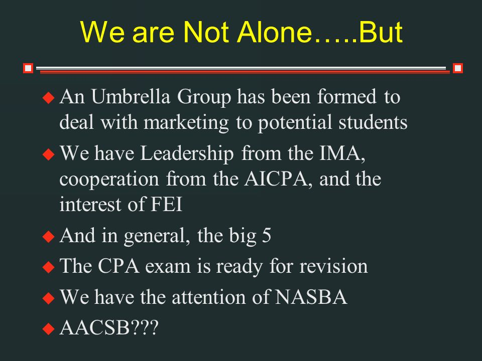 We are Not Alone…..But An Umbrella Group has been formed to deal with marketing to potential students We have Leadership from the IMA, cooperation from the AICPA, and the interest of FEI And in general, the big 5 The CPA exam is ready for revision We have the attention of NASBA AACSB???