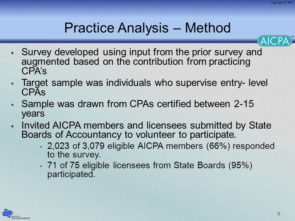 Practice Analysis – Method Survey developed using input from the prior survey and augmented based on the contribution from practicing CPAs Target sample was individuals who supervise entry- level CPAs Sample was drawn from CPAs certified between 2-15 years Invited AICPA members and licensees submitted by State Boards of Accountancy to volunteer to participate.
