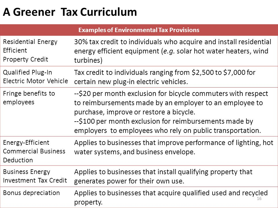 A Greener Tax Curriculum Examples of Environmental Tax Provisions Residential Energy Efficient Property Credit 30% tax credit to individuals who acquire and install residential energy efficient equipment (e.g.
