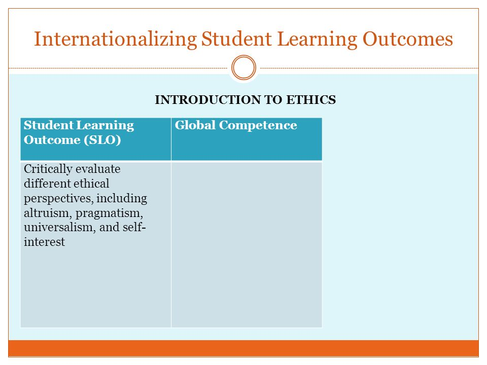 Internationalizing Student Learning Outcomes Student Learning Outcome (SLO) Global Competence Critically evaluate different ethical perspectives, including altruism, pragmatism, universalism, and self- interest INTRODUCTION TO ETHICS