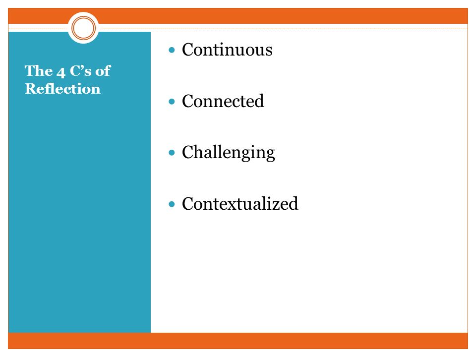 The 4 Cs of Reflection Continuous Connected Challenging Contextualized