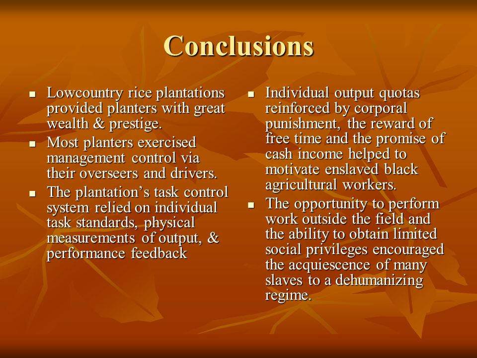 Conclusions Lowcountry rice plantations provided planters with great wealth & prestige.