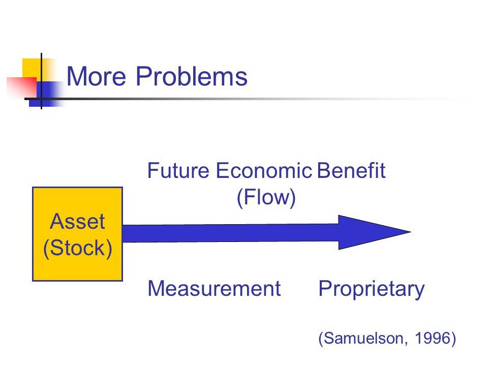 More Problems Future Economic Benefit (Flow) ProprietaryMeasurement Asset (Stock) (Samuelson, 1996)