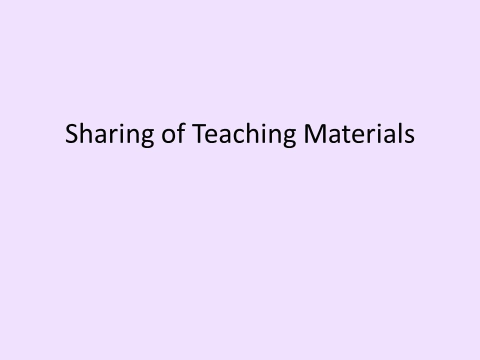 Sharing of Teaching Materials