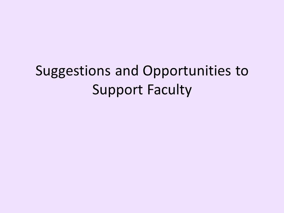 Suggestions and Opportunities to Support Faculty