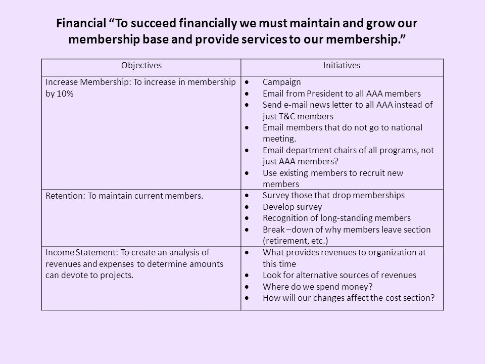 Financial To succeed financially we must maintain and grow our membership base and provide services to our membership.