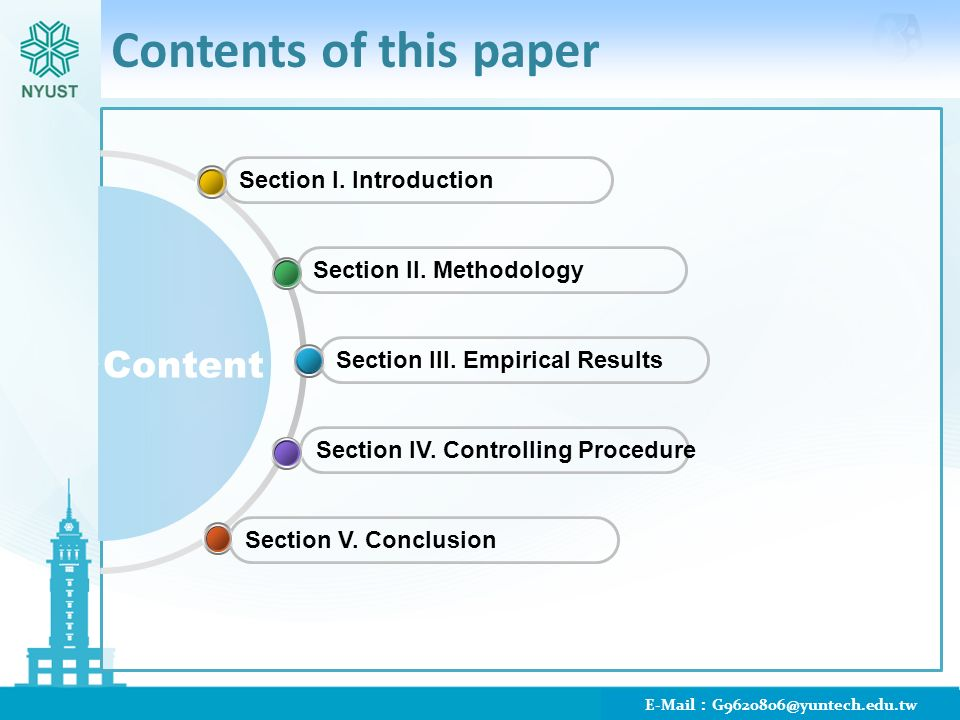 Contents of this paper Section I. Introduction Section II.