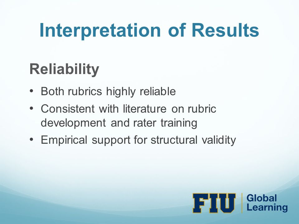 Interpretation of Results Reliability Both rubrics highly reliable Consistent with literature on rubric development and rater training Empirical support for structural validity
