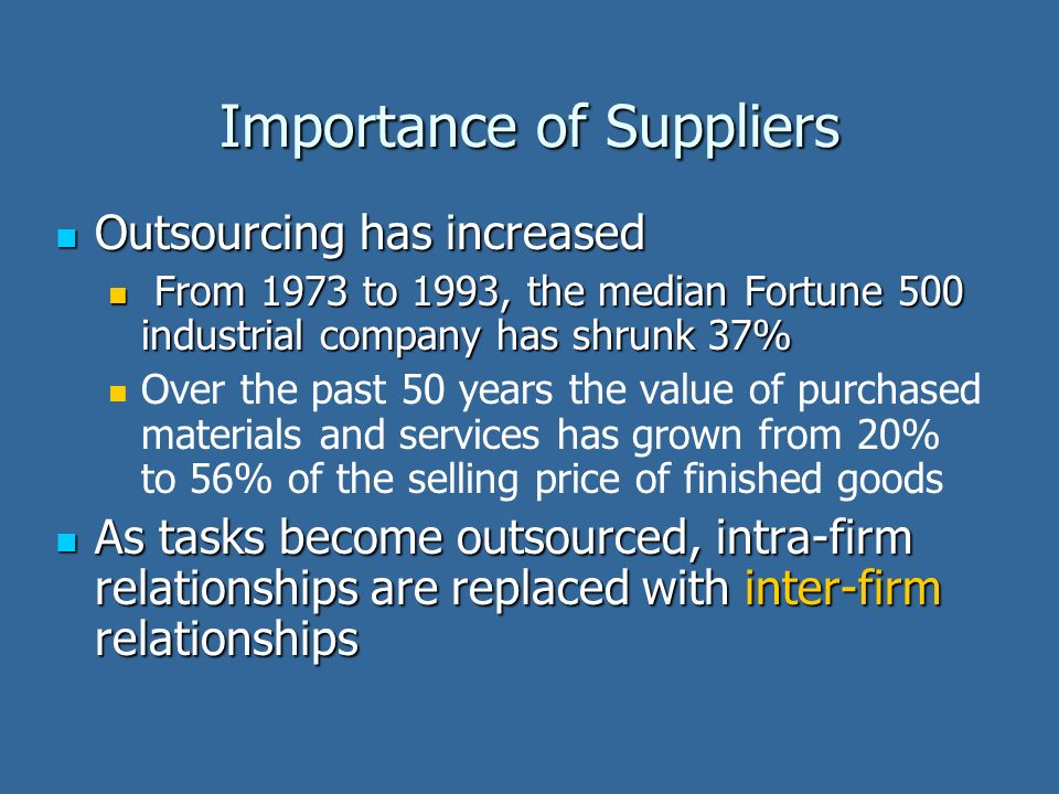 Importance of Suppliers Outsourcing has increased Outsourcing has increased From 1973 to 1993, the median Fortune 500 industrial company has shrunk 37% From 1973 to 1993, the median Fortune 500 industrial company has shrunk 37% Over the past 50 years the value of purchased materials and services has grown from 20% to 56% of the selling price of finished goods As tasks become outsourced, intra-firm relationships are replaced with inter-firm relationships As tasks become outsourced, intra-firm relationships are replaced with inter-firm relationships