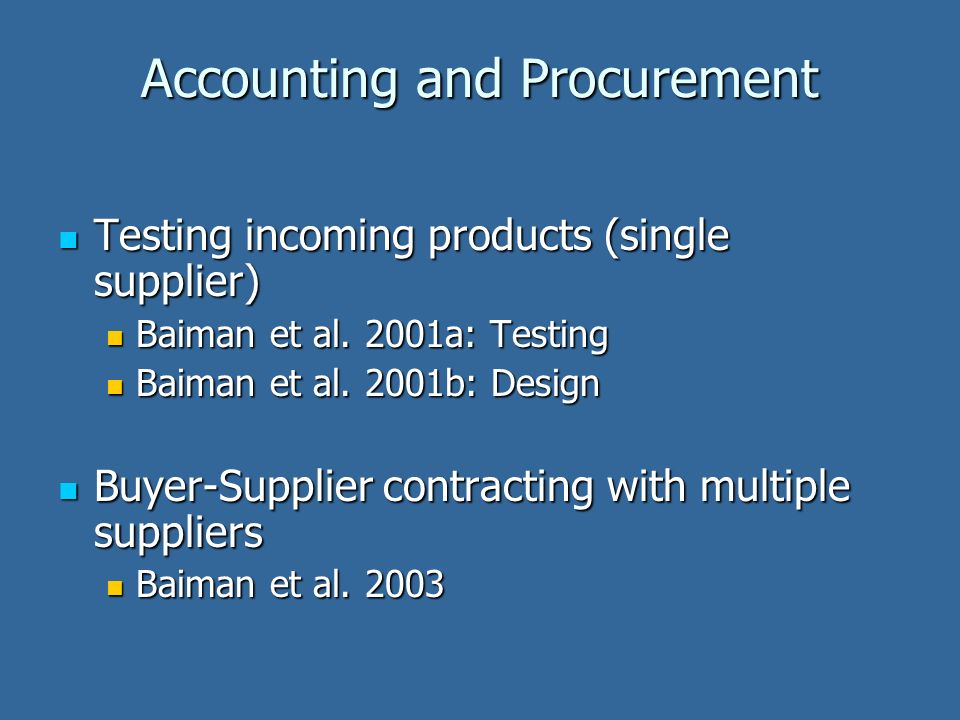 Testing incoming products (single supplier) Testing incoming products (single supplier) Baiman et al. 2001a: Testing Baiman et al. 2001a: Testing Baim