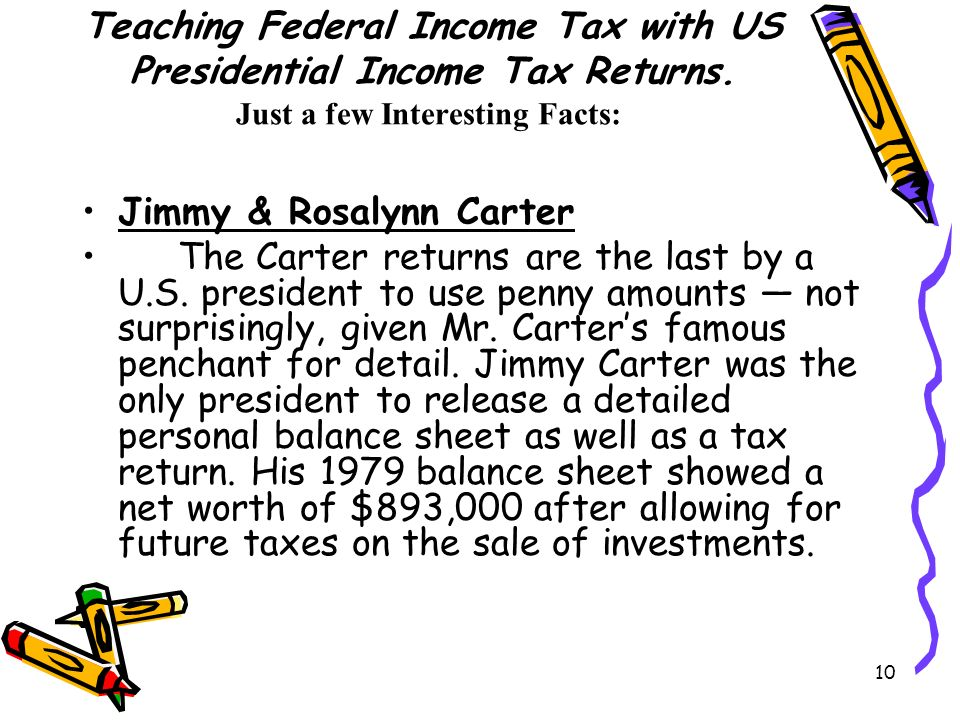 10 Teaching Federal Income Tax with US Presidential Income Tax Returns. Just a few Interesting Facts: Jimmy & Rosalynn Carter The Carter returns are t