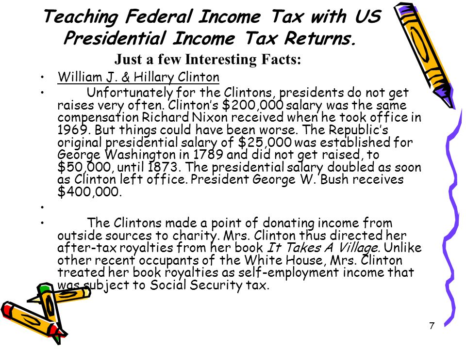 7 Teaching Federal Income Tax with US Presidential Income Tax Returns.