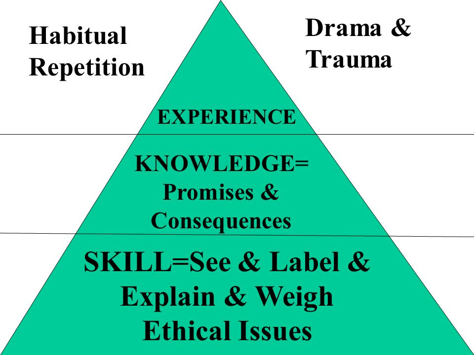 SKILL=See & Label & Explain & Weigh Ethical Issues KNOWLEDGE= Promises & Consequences Habitual Repetition Drama & Trauma EXPERIENCE