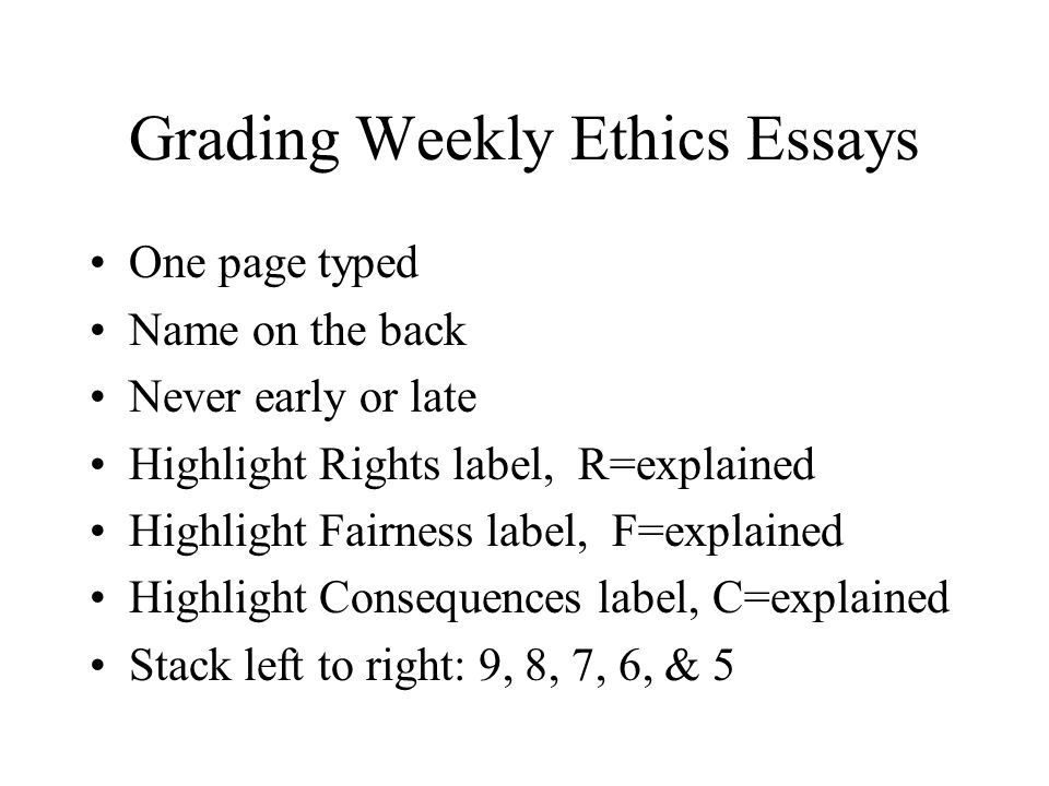 Grading Weekly Ethics Essays One page typed Name on the back Never early or late Highlight Rights label, R=explained Highlight Fairness label, F=explained Highlight Consequences label, C=explained Stack left to right: 9, 8, 7, 6, & 5