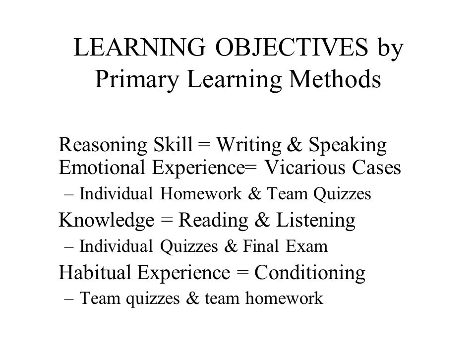 LEARNING OBJECTIVES by Primary Learning Methods Reasoning Skill = Writing & Speaking Emotional Experience= Vicarious Cases –Individual Homework & Team Quizzes Knowledge = Reading & Listening –Individual Quizzes & Final Exam Habitual Experience = Conditioning –Team quizzes & team homework