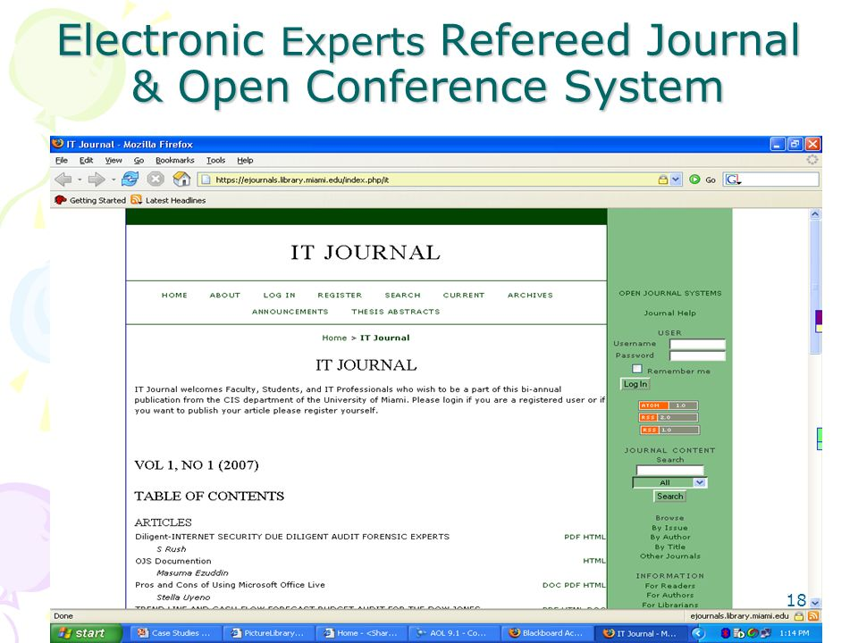 Electronic Experts Refereed Journal & Open Conference System 18