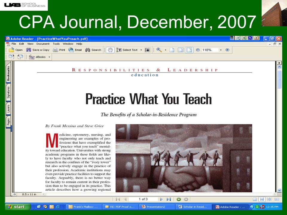 CPA Journal, December, 2007