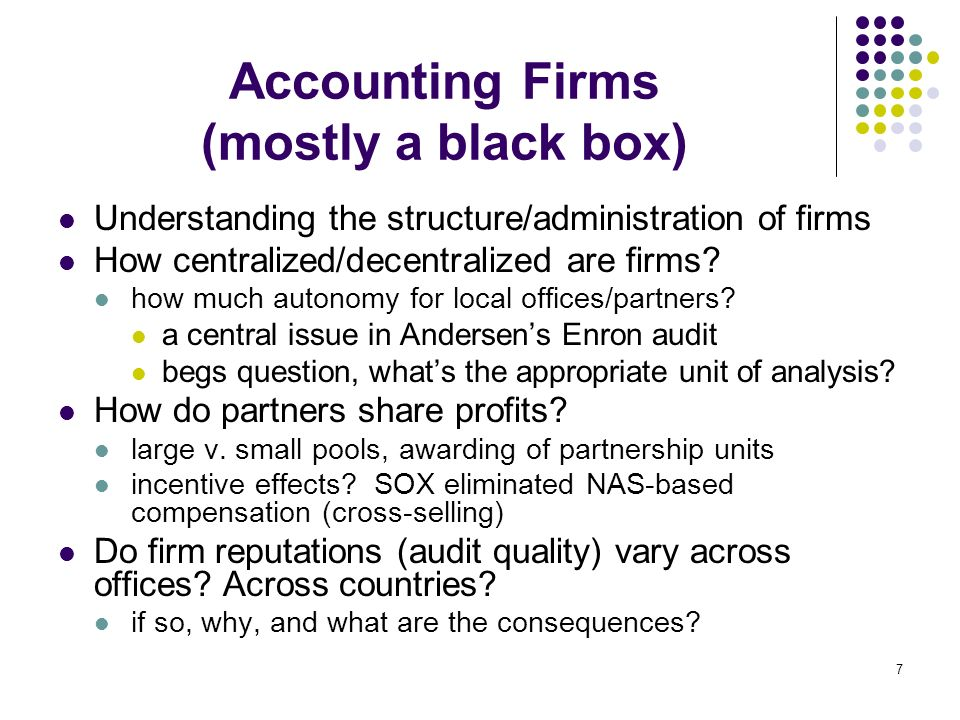 8 Observable Audit Outcomes Audit reports issued by accounting firms limited opportunities as only 10% are GC reports Audited financial statements jointly produced by auditors-clients Examples of research questions: do audit firm characteristics (size, reputation, locale, etc.) affect observable audit outcomes.