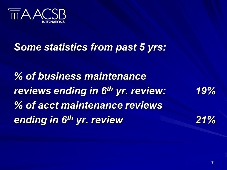 7 Some statistics from past 5 yrs: % of business maintenance reviews ending in 6 th yr.
