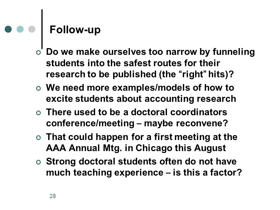 28 Follow-up Do we make ourselves too narrow by funneling students into the safest routes for their research to be published (the right hits).